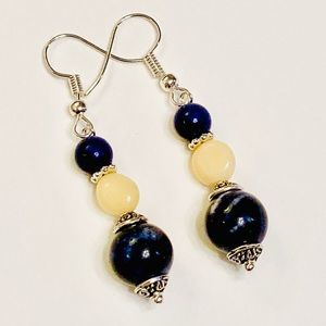 Dark Blue Sodalite & Yellow Agate Earrings